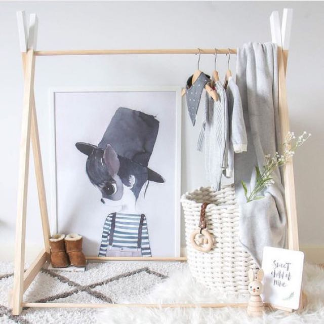 Scandinavian Wooden Kids Clothing Rack Babies Kids On Carousell