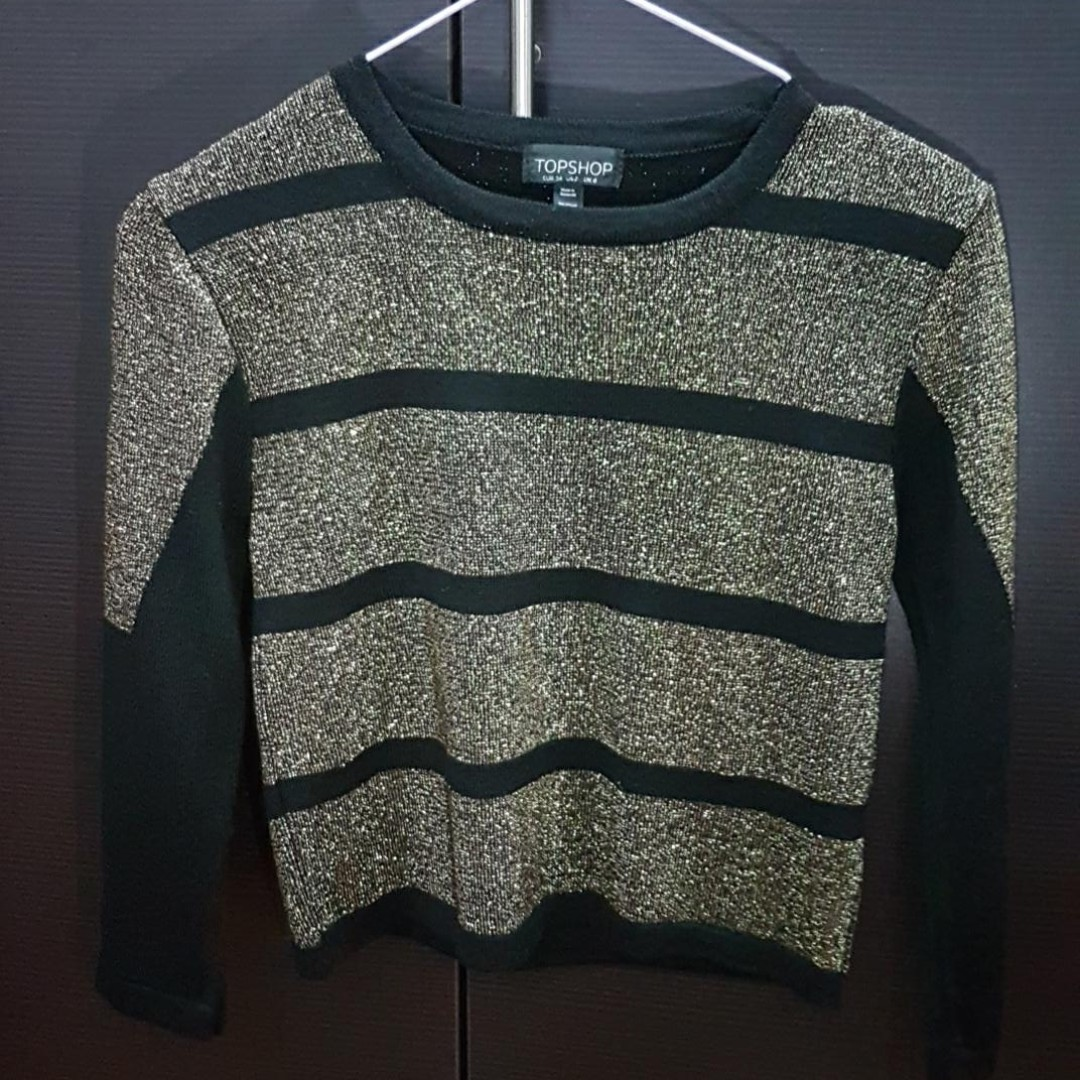 2f65a5d8f303a1 TOPSHOP Gold Crop Top Sweater, Women's Fashion, Clothes, Tops on ...