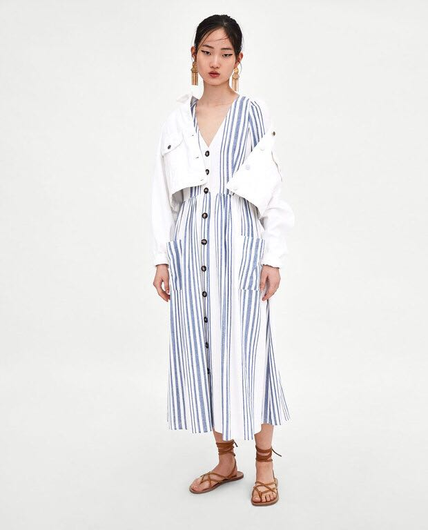 Zara Striped Midi Dress With Buttons Size M L