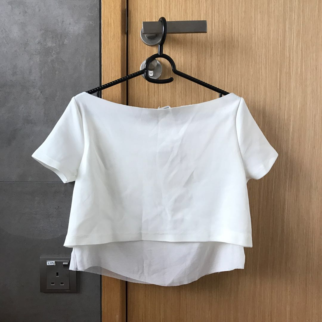 76eb7024401 Zara white Off Shoulder crop top, Women's Fashion, Clothes, Tops on ...