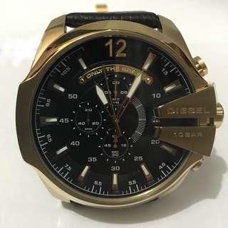 Diesel Mega Chief Black Dial Black Leather Men's Quartz Watch 男士石英腕錶