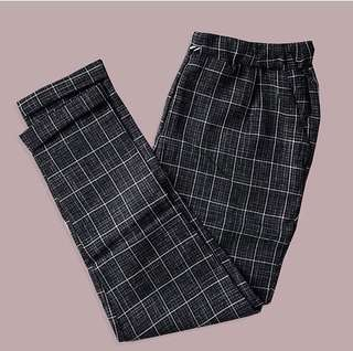 Gray plaid trousers