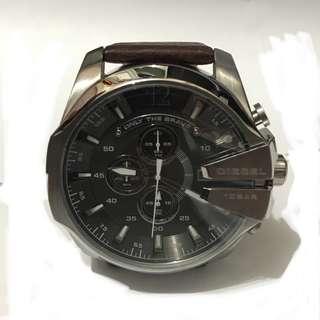 Diesel Mega Chief Grey Color Brown Leather Men's Watch 男士腕錶