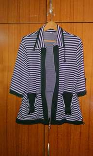 Striped zip-up Cardi with button details