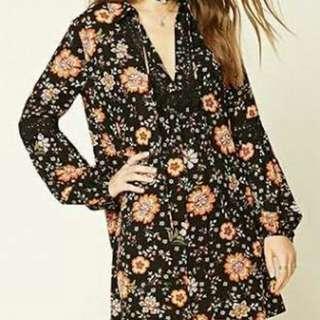 F21 Black Floral Self-Tie Shift Dress