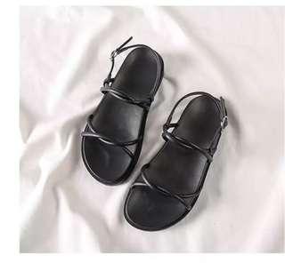 軟Q鞋底/3cm厚度 超百搭黑色涼鞋