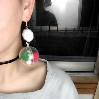 0611童趣復古少女心立體透明球毛球耳環耳夾