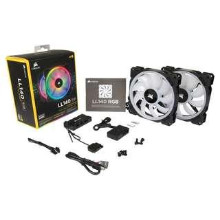 CORSAIR LL140 RGB 140mm Dual Light Loop RGB LED PWM Fan — 2 Fan Pack with Lighting Node PRO