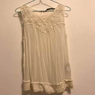 Zara White Crochet Top