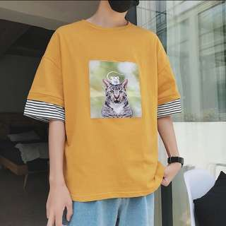 Oversized Two Layer 'Cat n Rat' Tee elbow length sleeve