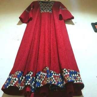 Long Dress Gamis Maroon