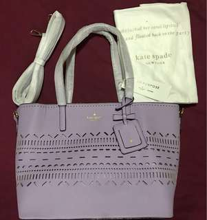Authentic Overrun Kate Spade Tote Bag purple on purpose collection