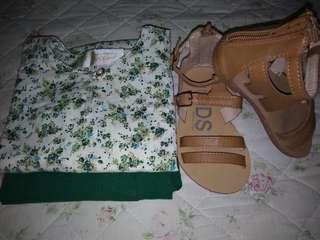 Kurung Cotton + Sandal (Size 7)