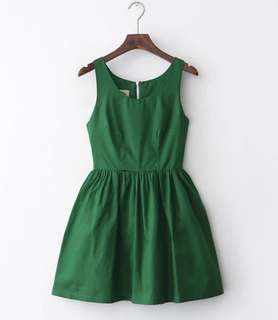 Dark Green a-line summer dress斯文裙