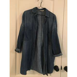 Zara long denim shirt (S)