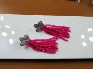 Fuschia Beaded Tassel Earrings
