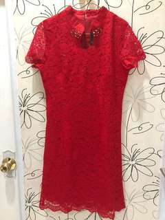 Red lace cheongsam dress