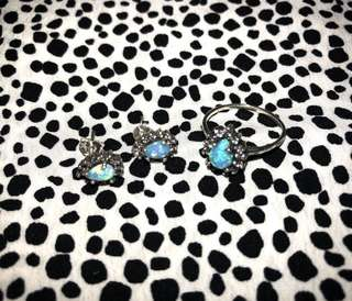 Sterling Silver Turquoise Semi-Precious Stone Set