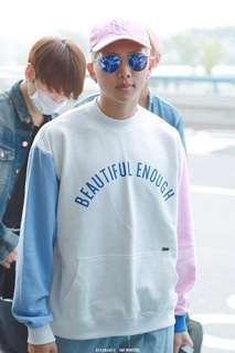 bts pink and blue colourblock sweater