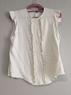 (USED) Zara White Polka Dot Ruffle Sleeveless (Size M)