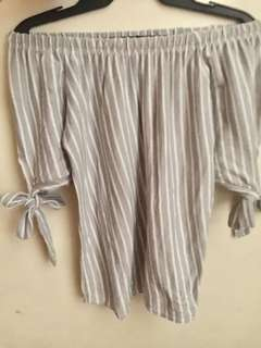 Off shoulder white with gray linings