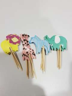 24pcs Wild animals Cake/Cupcake/Muffin Toppers for Party Decoration