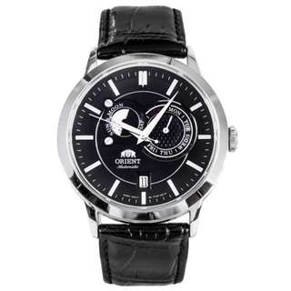 only hk$1269, 100% new ORIENT Sun And Moon Automatic Black Dial Men's Watch手錶,brand new and never been worn
