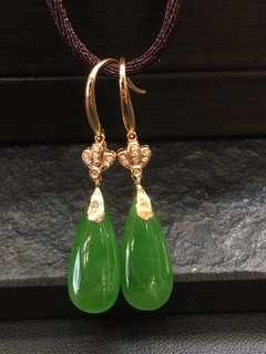 【和田玉耳環】天然和田碧玉18K金鑽石耳環