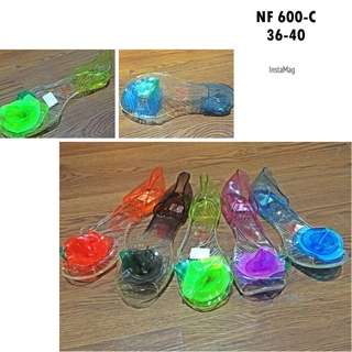 Flat shoes jelly kaca bara-bara import