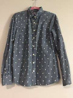 (USED) J.CREW Blue Polka Dot Dress Shirt (Size S)