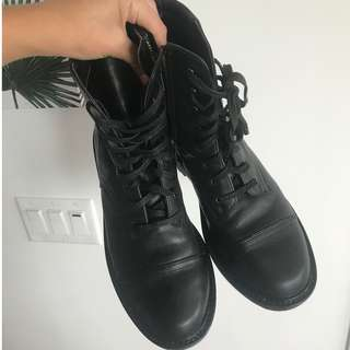 Black Leather Combat Lace Up Boots - BP SHOES NORDSTROM - Size US 9