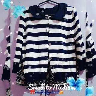 SALE! Pre-loved Kawaii Blue/Stripes Cardigan
