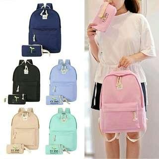 2 in 1 set korean women backpak bags