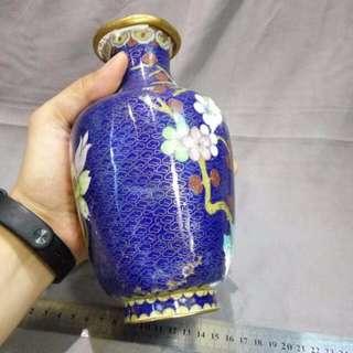 景泰藍 藍色大花瓶 cloisonne 18.5cm X 10cm