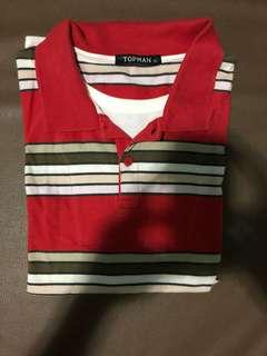 Topman London  Red Stripes polo shirt size xl
