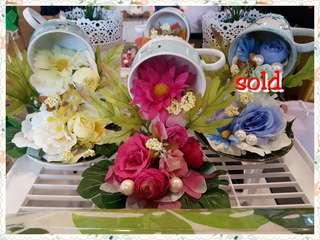 Handmade cup & saucer flower