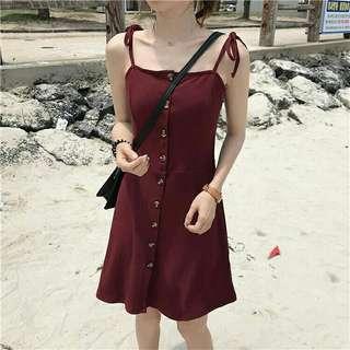 性感款綁帶式圓扣洋裝