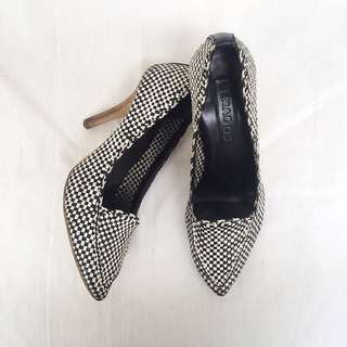 LINEA - Woven Leather Checked Heels Shoes