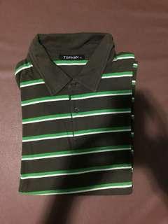 Topman London Polo Shirt stripes (XL) forest green