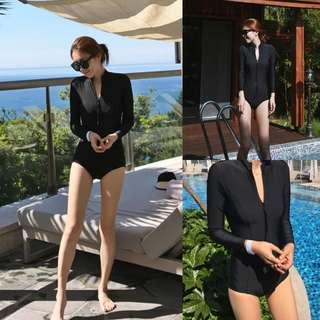 ✔Rashguard Push-up Padded One-piece Long Sleeve Beach Surf / Swimsuit (Black)