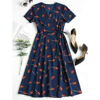 Tulip print wrap dress