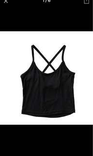 Black crop top with cross back straps