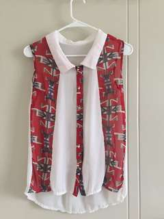 White and Red Sleeveless Top