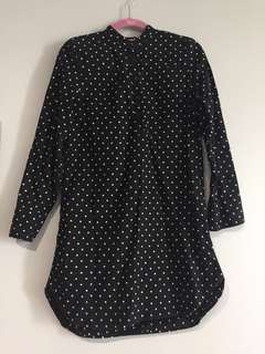 (USED) Uniqlo Black Polka Dot Shirt Dress (Size S)
