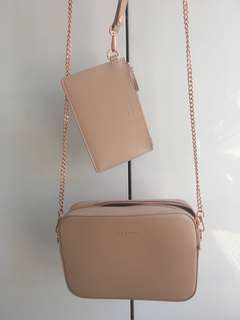 TED BAKER DUSTY-PINK BAG WITH ROSE GOLD HARDWARE
