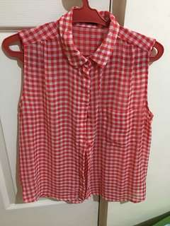 Mango checked sleeveless