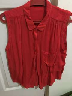 Mango Red sleeveless blouse
