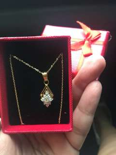 Necklace with real diamonds 18 inches 14k italy gold