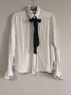 (USED) Zara White Polka Dot Button Up With Tie (Size M)