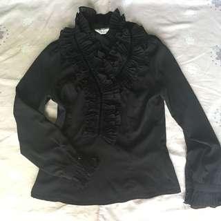 Black gothic lolita frilled top
